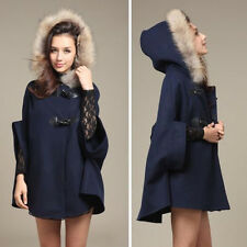 Vintage Hooded Poncho Cape Womens Coat Winter Warm Faux Fur Collar Jacket Cloak