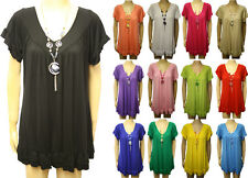 New Ladies Plus Size Frill Necklace Womens Short Sleeve Long V Neck Top 16 - 28