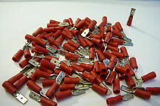 4.8mm red male spade terminal crimp connector   25 50 100 pack