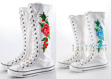 Women Canvas Flat Sneakers Lace Up Knee High Boots With Flower
