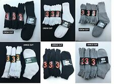 12 Pairs Men 9-11 or 10-13 Athletic Cotton Crew/Ankle Socks White/Black/Grey