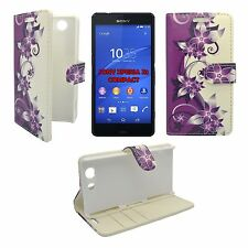 SONY XPERIA Z3 COMPACT PURPLE AND CREAM FLOWER PRINTED PU LEATHER BOOK FLIP CASE