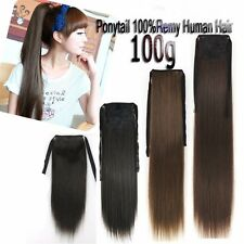 100g 18''~26'' Luxury Salon Ribbon Ponytail Clip in Real Human Hair Extensions