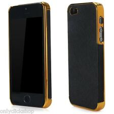 New Frame Luxury Leather Chrome Plated Hard Back Case Skin Cover For iPhone 5 5s
