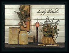 Simply Blessed Susie Boyer 18x24 Country Primitive Sign Framed Art Print Picture