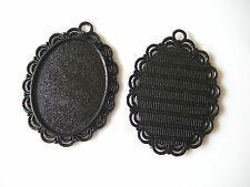 10-50Pcs 30x40mm Oval Cameo Blanks Setting Tray Pendants Cabochon Black