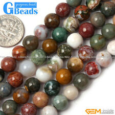 "Natural Stone Ocean Jasper Round Beads For Jewelry Making 15"" 6mm 8mm 10mm 12mm"