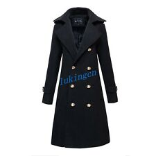 Britpop Mens Double Breasted Trench Coat Super Long Black Wool Parka Overcoat Sz