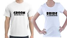 JUST MARRIED HIS AND HERS T-SHIRTS - BRIDE/GROOM WEDDING - TWO T-SHIRTS S-XXL