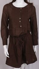 NEW WOMEN CHOCOLATE BROWN LONG SLEEVE TOP/ DRESS/ TUNIC WITH TIE AT WAIST S+M