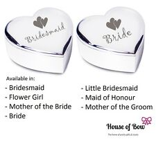 Wedding Heart Trinket Box Keepsake Gift Bridesmaid, Bride, Flowergirl Present