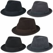 Mens Women Made In Italy 100% Wool Felt Fedora Waterproof Crushable Trilby Hat