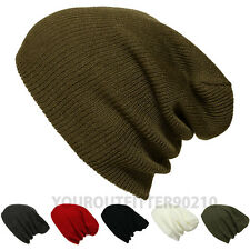 Mens Womens Lightweight Knit Fashion Oversize Baggy Beanie Slouch Unisex Ski Cap