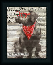 Lucky Dog Conrad Knutsen 14x11 Black Lab Red Glasses Art Print Framed Picture