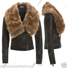 NEW Faux Fur BIKER JACKET Womens Fitted FAUX LEATHER Ladies ZIP Size 8 10 12 14
