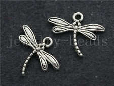 20/100/500pcs Antique Silver Beautiful Dragonfly Jewelry Charms Pendant 18x15mm