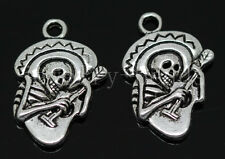 10/40/200pcs Antique Silver Beautiful Music skeleton Charms Pendant DIY 22x15mm