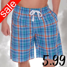 CARGO BAY Mens 1 Pair Check Pattern Lounge Shorts Cotton Rich