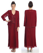 Mother Of Bride Church Funeral Modest Long Jacket Evening Plus Size Formal Dress
