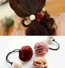 1PC Women Girl Rose Pearl Hair Rope Scrunchie Ponytail Holder Jewelry