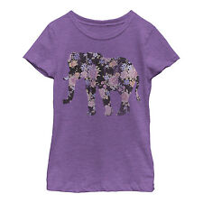 Lost Gods Floral Elephant Print Girls Graphic T Shirt