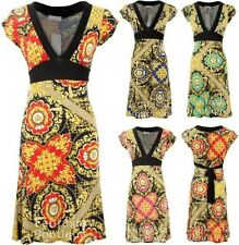 New Ladies Cap Sleeve V Neck Black Yellow Pattern Tie Back Women's Flare Dress