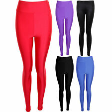 Ladies American Style Disco High Waisted Shiny PVC Women's Leggings Trousers 8-1