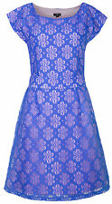 MyMust Blue Flowery Lace With Soft Pink Lining Stylish Dress