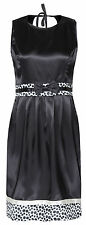 MyMust Soft Black Satin Dress With Polka Dot Designs And Tie Back Detail