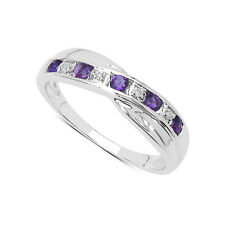 STERLING SILVER AMETHYST & DIAMOND CHANNEL SET ETERNITY RING SIZE H-W GIFT
