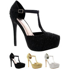 Womens Wedding Stiletto Heels Crystals T-Strap Platform Bridal High Heel US 5-11