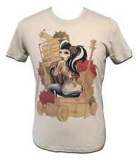 Lucky Men's Natural Tee Sexy Tattooed Girl by Lowbrow Art Custom Tattoo Artwork