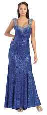 Plus Size Long Thick Strap Sequins Formal Hand Beaded Embroidery Evening Dress