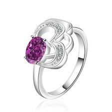 Wholesale 925 Sterling Silver Purple AAA Cubic Zirconia Heart Ring Size 7 8