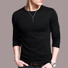 Popular Mens High elasticity T-Shirt Long Sleeve Round neck Basic Tee M-XXXL