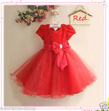 Reds Christams Wedding Party Dress Flower Girls Dresses SIZE 2 3 4 5 6 7 8 9 10Y