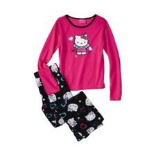NWT Hello Kitty Little Girl Two-Piece Sparkly Black & Pink Pajamas - Girls 4-8