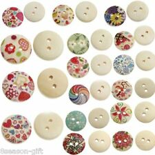 200PCs Sewing Buttons Wood Multicolor Mixed Nature Scrapbooking 15mm