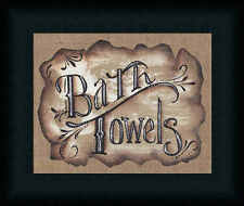 Bath Towels Michele Musser 8x10 Country Bathroom Sign Framed Art Print Picture