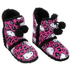 NWT Hello Kitty Plush Pink & Black Leopard Pattern Slipper Booties - Size 11/12
