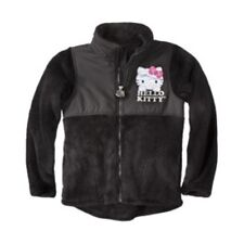 NWT Hello Kitty Little Girl's Black Appliqued Zip-Up Fleece Jacket - Sizes 4 & 5