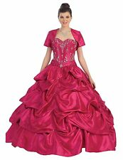 Quinceanera Long Strapless Beaded Sequins Taffeta Formal Prom Dress with Jacket