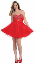 Homecoming Short Cocktail Strapless Sweetheart Tulle Sassy Mini Prom Dress