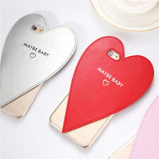 Cute Lovely Heart Leather Clear Hard Case Cover For iPhone 5S 6 6Plus 6S Plus