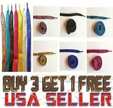 "U PICK COLOR GLITTER SPARKLE SHOE LACES STRINGS 45"" Flat Athletic Sneaker LACE"