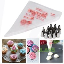 15Pcs Cake Fondant Pastry Icing Cream Nozzles/ 100pcs Decorating Bags Piping Set
