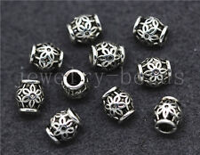 New 15/60/300pcs Tibetan Silver Cylinder Flower Spacer beads Charm Jewelry 6x5mm