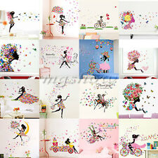 Girl Flower Removable Wall Art Sticker Vinyl Decal DIY Room Home Mural Decor New