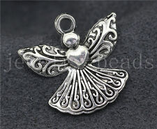 New 10/40/200pcs Antique Silver Lovely Heart-shaped Angel Charms Pendant 23x21mm