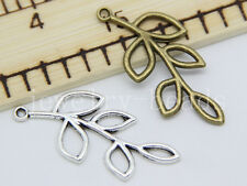 New 6/30/150pcs Antique Silver hollow leaves Jewelry Charms pendant DIY 41x19mm